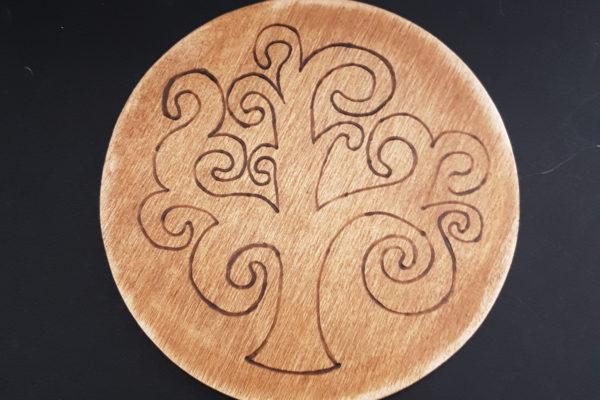 sotto pentola in legno - Albero della vita - Creazioni artigianali - Barone Woody Maker